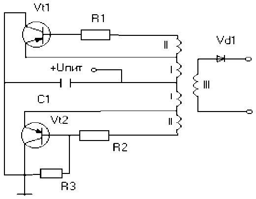 Схема зарядки конденсаторов.